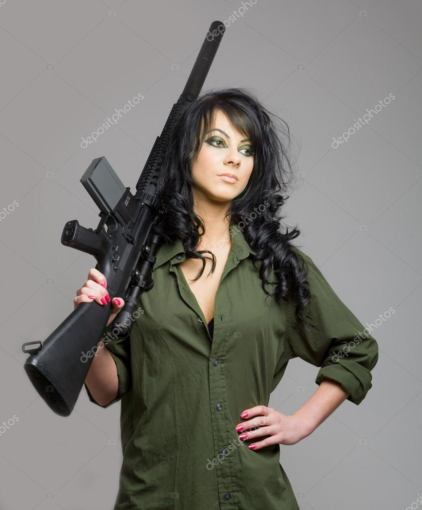 girl camo and Sexy gun with