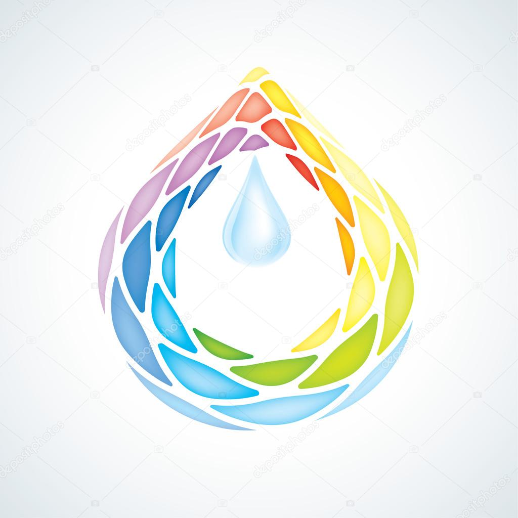 Abstract Puzzle Water Drop Symbol. Icon. EPS10