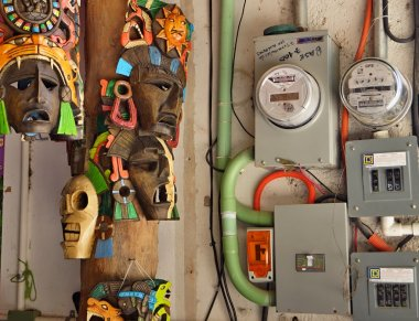 Electric devices and masks of ancient tribes