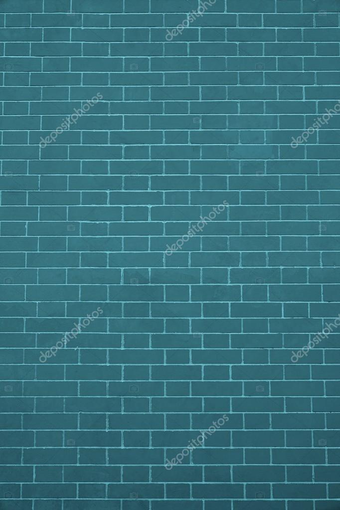 Texture Brick Wall Dark Turquoise Color Stock Photo