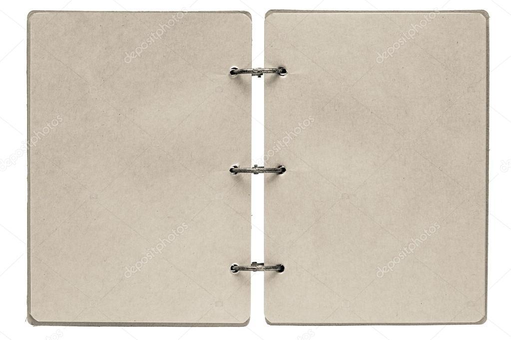 Notebook mit beiger Farbe-Seiten zu öffnen — Stockfoto © malven ...
