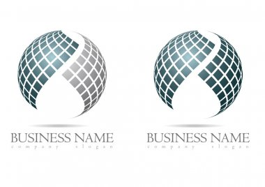 Business logo in silver sphere design with blue and gray cubes stock vector