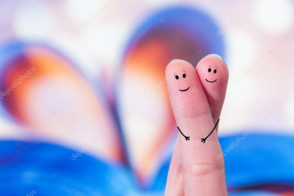 Happy fingers couple in love
