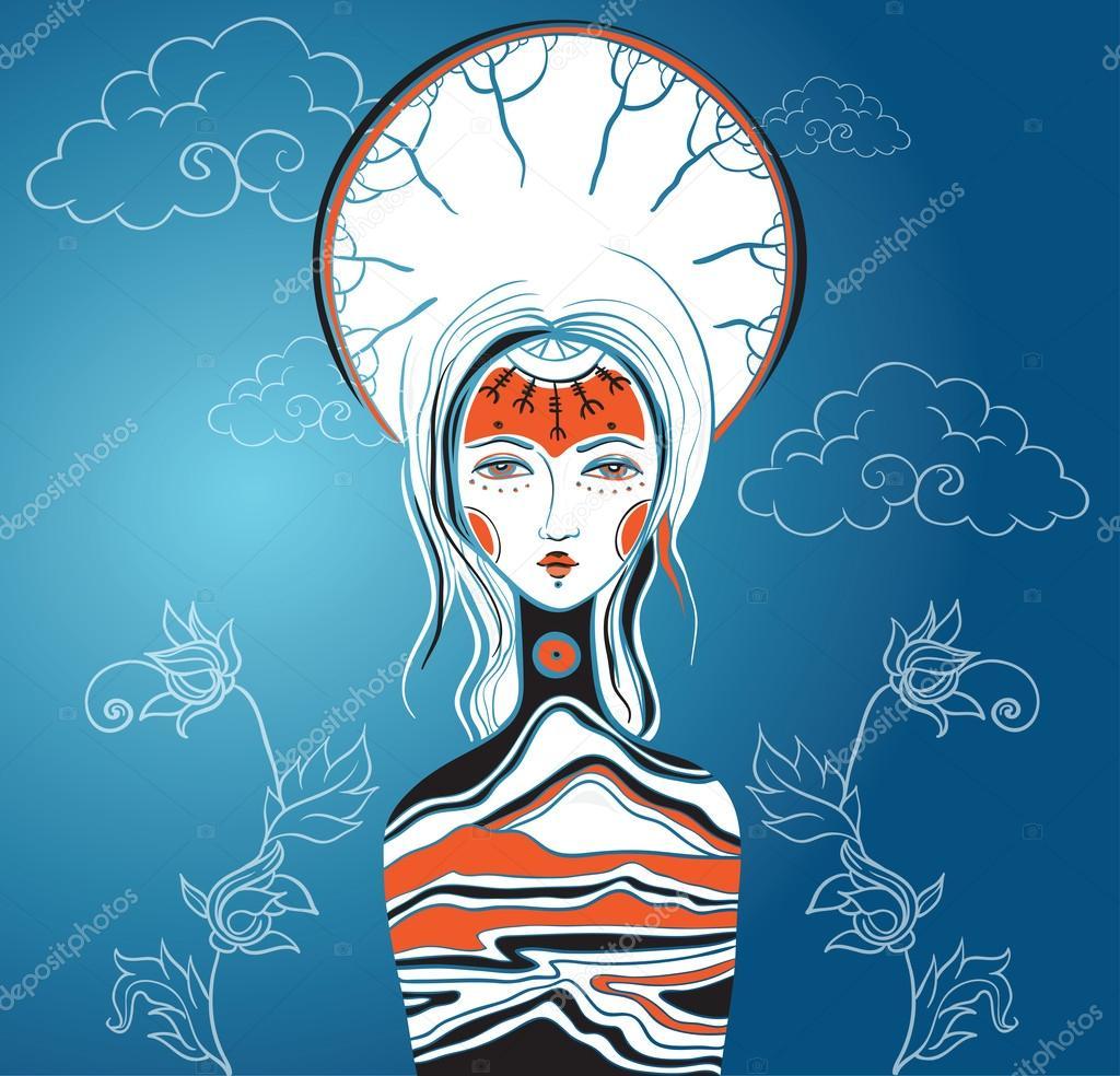 Vector illustration of the Goddess. Female archetype. Mother nat