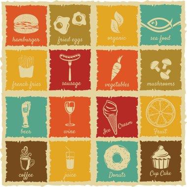 Set of vintage food and drink labels