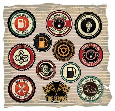 Collection of vintage retro grunge car labels