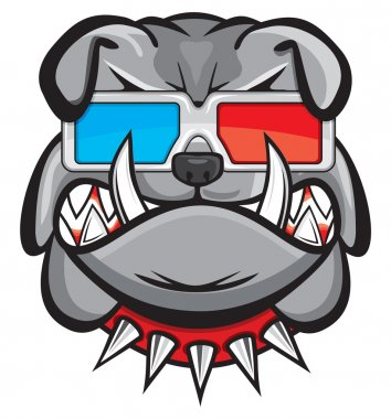 Dog with 3d glasses