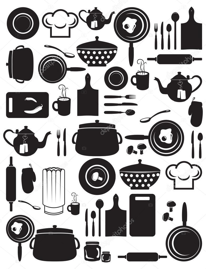 Cute Kitchen Pattern Stock Vector