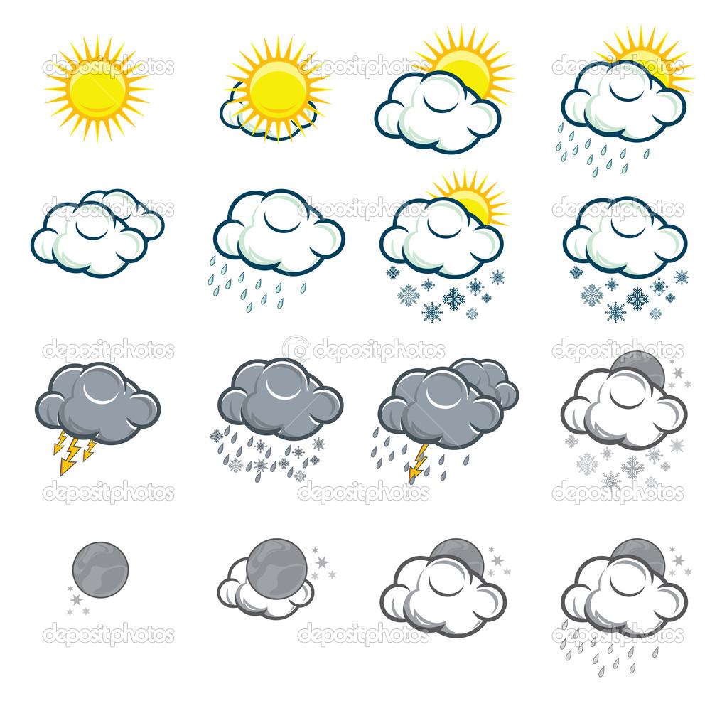 Conjunto de iconos meteorol gicos vector de stock for El tiempo en st hilari sacalm