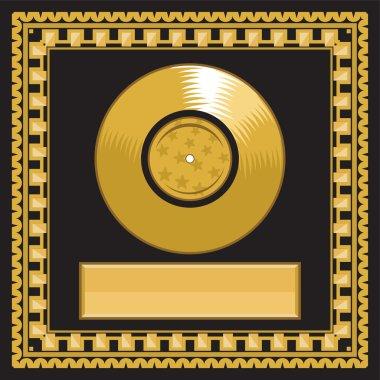Blank golden LP disc in the frame