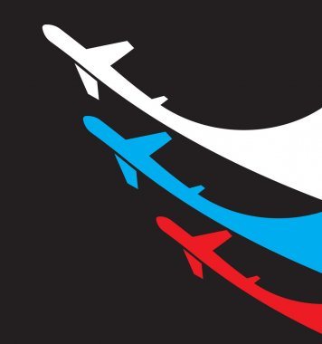 Airplanes background with Russia flag