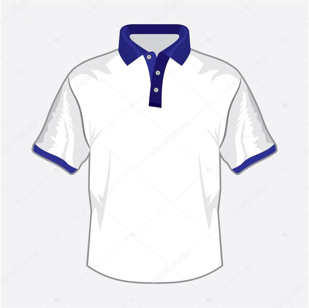 ce9f388d04d0a design de camisa polo branca com gola azul escura — Vetores de Stock ...