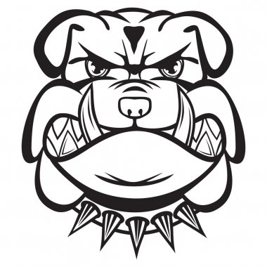 Angry bulldog head black and white