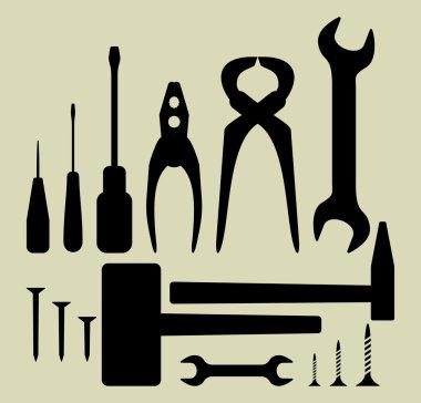 Hand tool silhouette set
