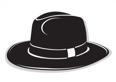 Gangster black hat on the white background
