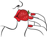 Fotografie schöne Frau mit roten Lippen Essen Erdbeere