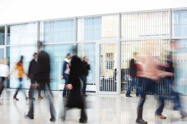 Office Worker Rushing through Corridor, Motion Blur