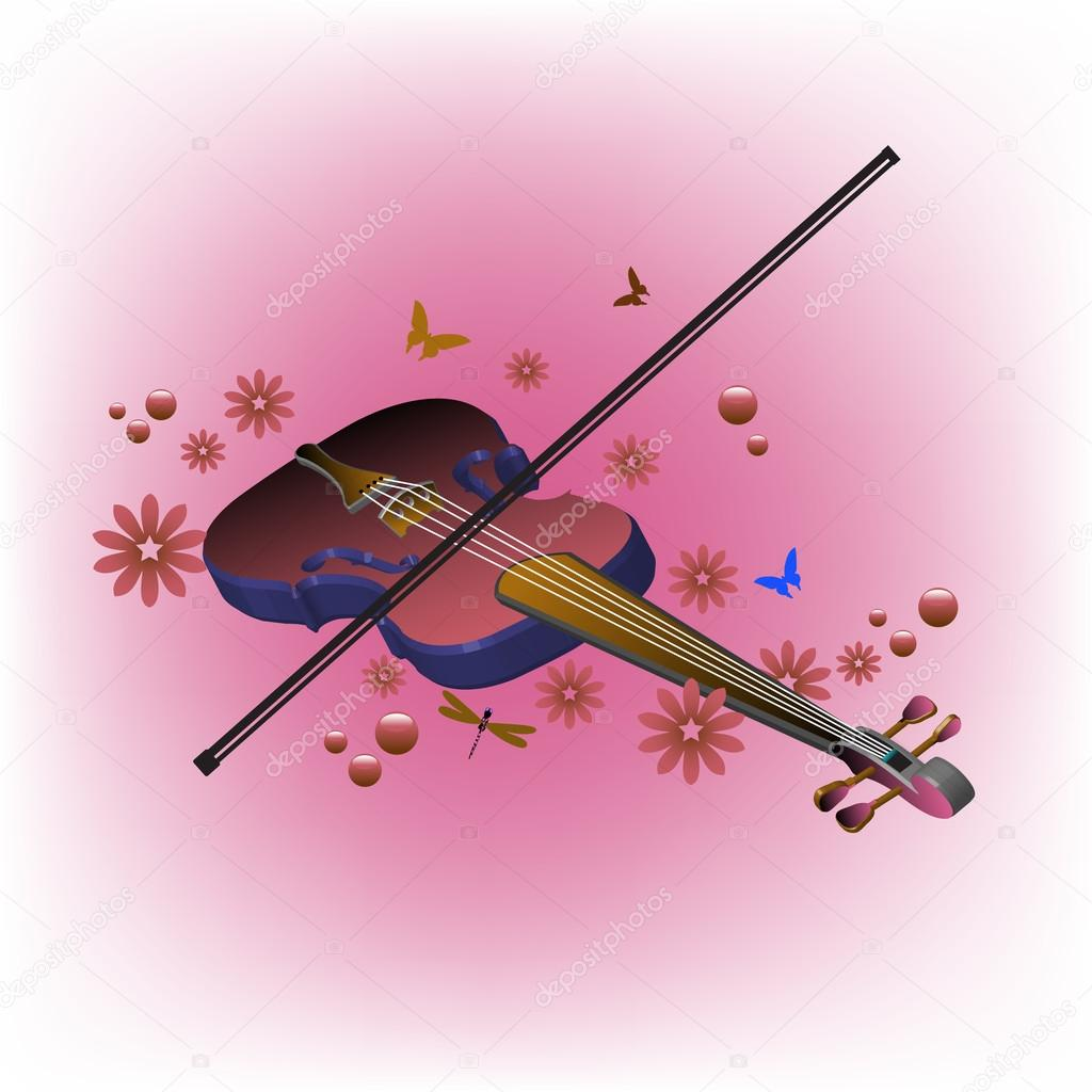 Violin and flowers