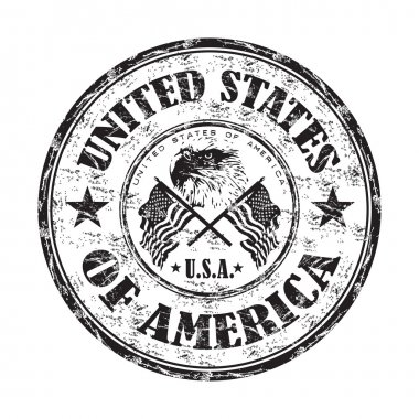 Black grunge rubber stamp with bald eagle between two american flags and the name of the United States of America written inside the stamp stock vector