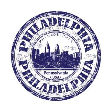 Philadelphia grunge rubber stamp