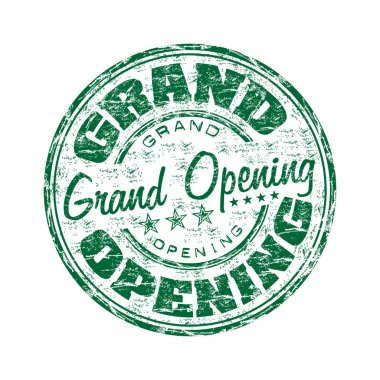 Grand Opening grunge rubber stamp
