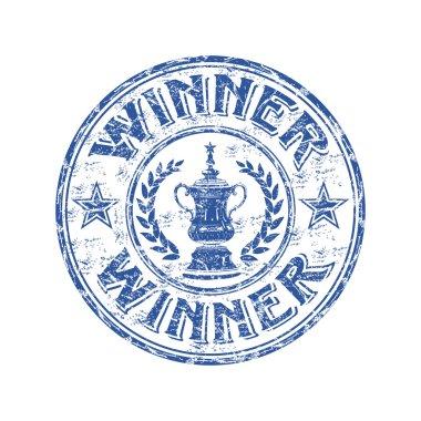 Winner grunge rubber stamp