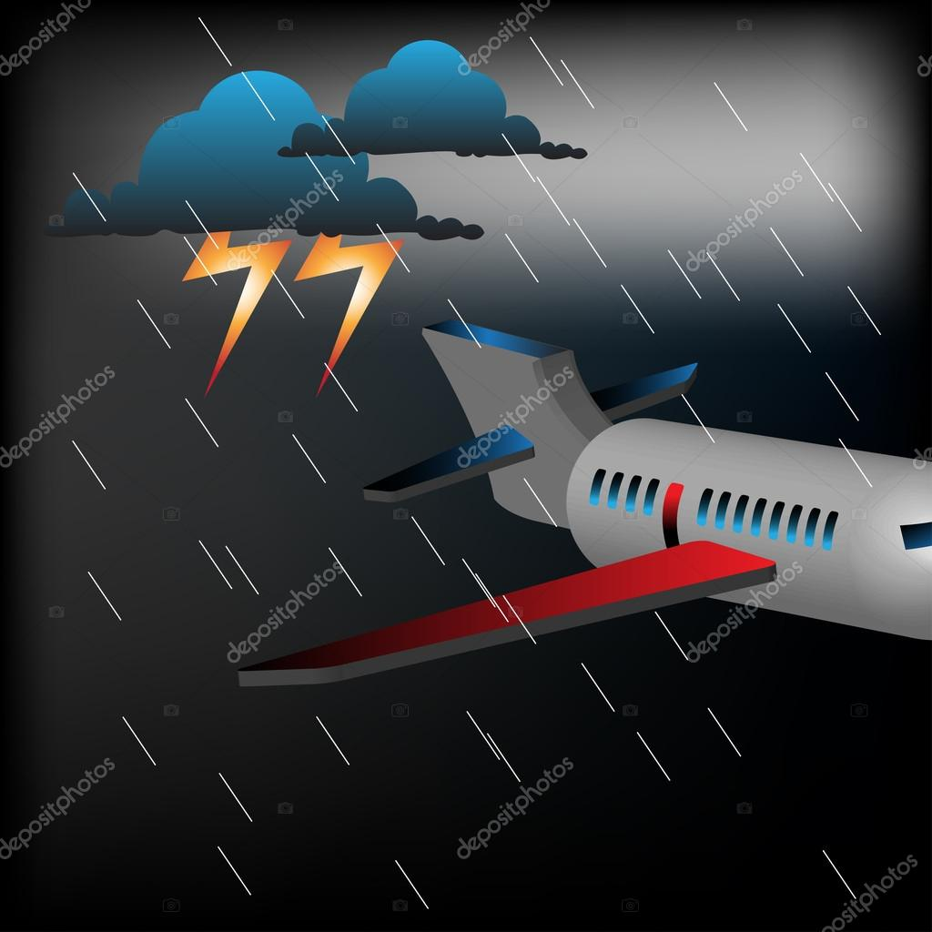 Plane flying in the middle of a storm