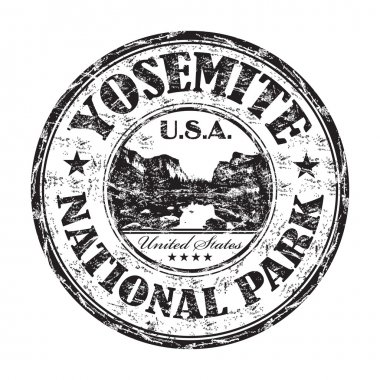 Yosemite National Park grunge rubber stamp