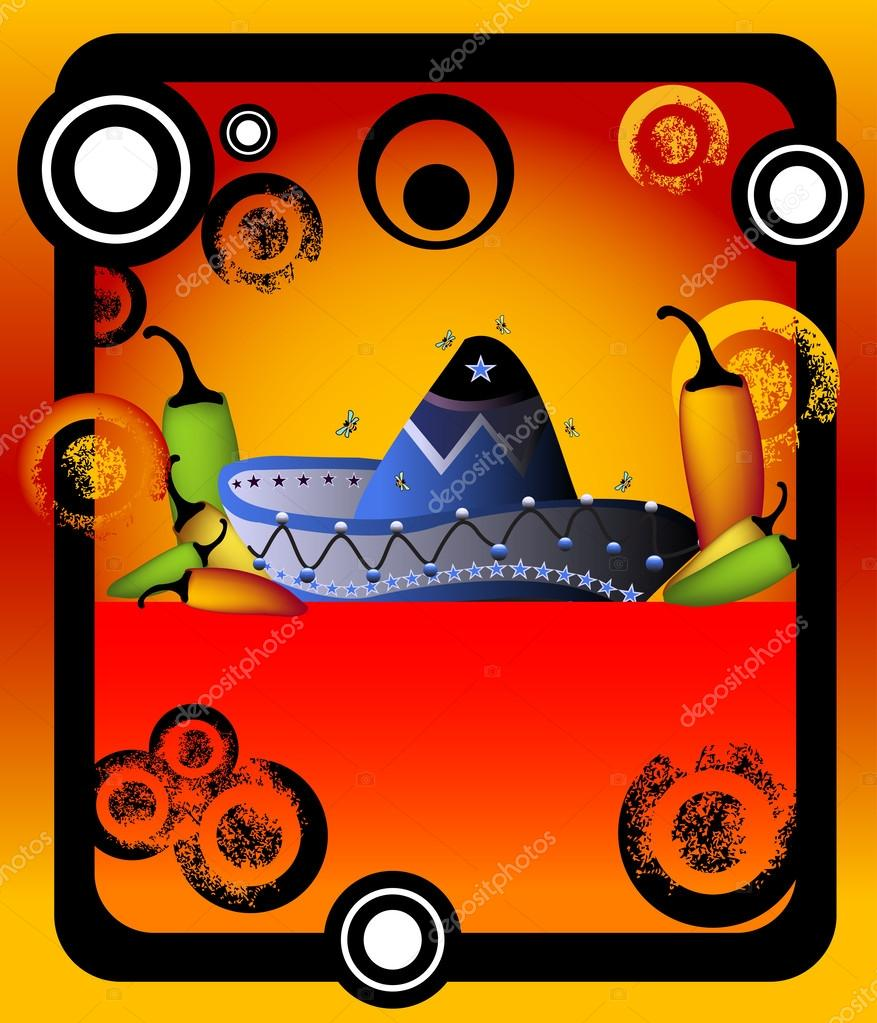 abstract colored frame with small bees flying above a colorful mexican sombrero and various chili shapes near the sombrero vector by oxlock - Mexican Frame