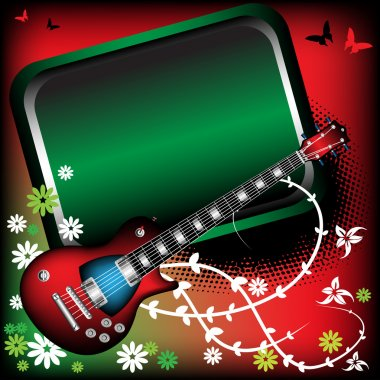 Green frame and red guitar