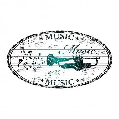 Music grunge rubber stamp