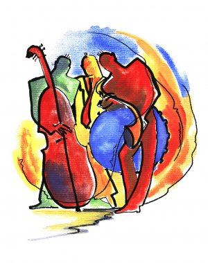Jazz trio in abstract style
