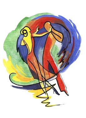 Abstract woman and man dancing
