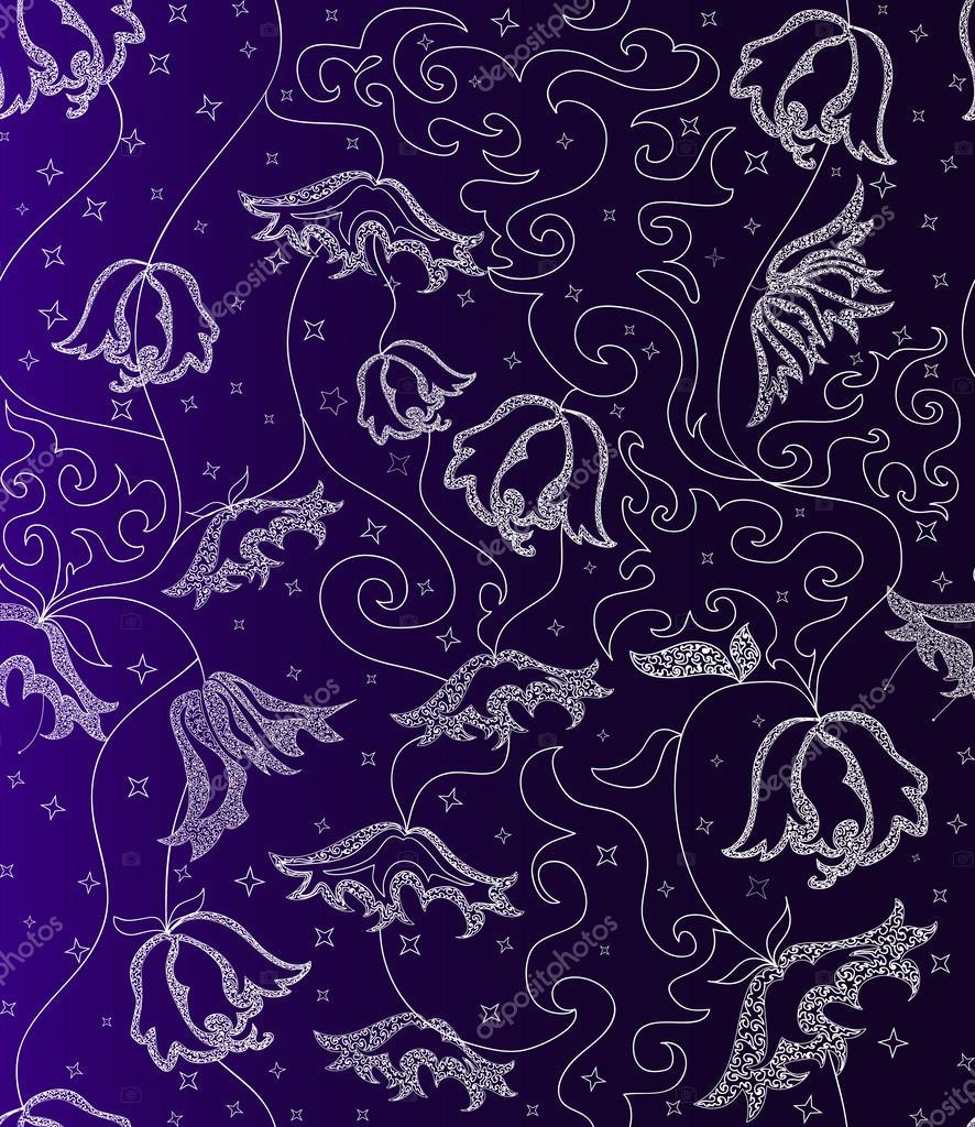 Beautiful seamless pattern with night flowers curls and stars beautiful seamless pattern with night flowers curls and stars stock vector izmirmasajfo