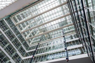 Glass construction of skyscraper