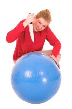 Frustrated blonde middle aged woman