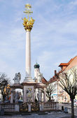 die Dreifaltigkeitssäule in Straubing, Bayern, Deutschland