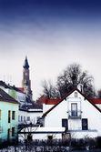 Fotografie Basilika von St. Jacob mit Blick auf die Stadt Straubing, Bayern, Deutschland