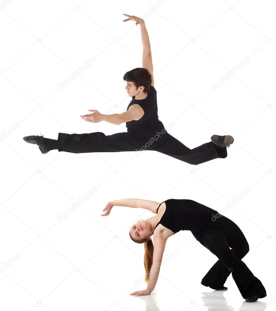 e35a127d młody kaukaski nowoczesnego jazzu tancerzy — Zdjęcie stockowe ...