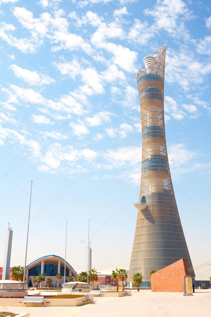 Outside Khalifa sports stadium in Doha, Qatar