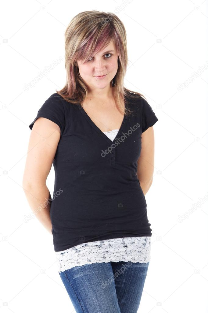 74d376eff4d Cute and active young adult caucasian woman wearing a black top and blue  jeans and with short brunette hair on a white background.