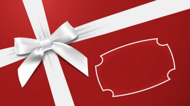 White bow on a red background