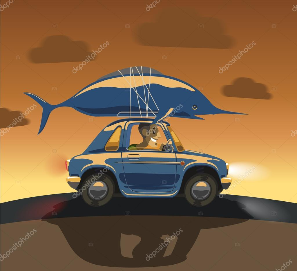 Cartoon car driven by a big fish on the roof stock for Big fish script