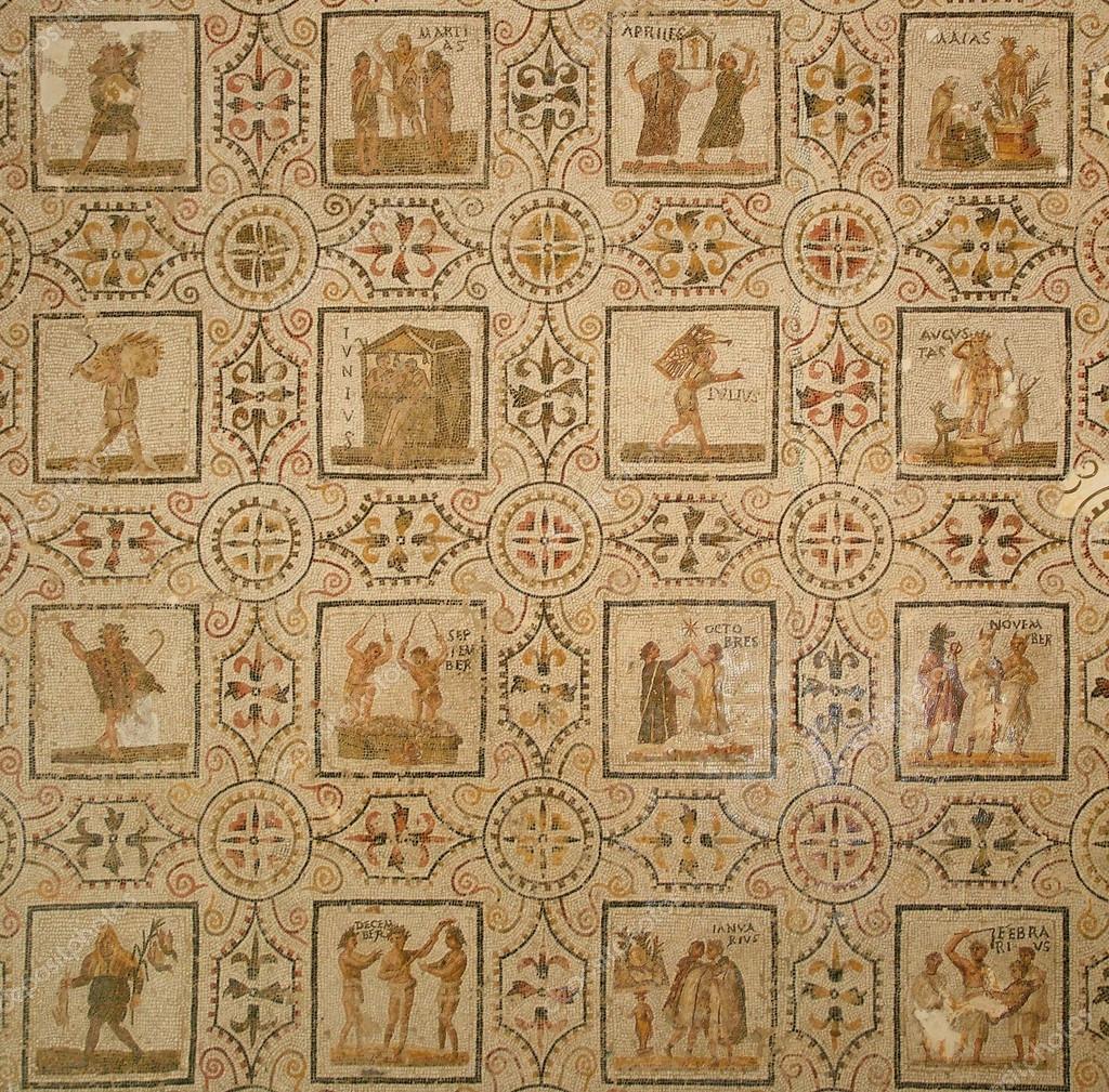 Calendario Antico.Antico Mosaico Romano Calendario Foto Stock C Fotocvet1