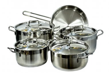 Crockery of stainless steel, isolated
