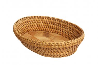 An empty wicker basket isolated over white background. Basket us