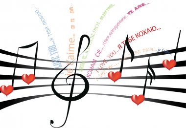 Declaration of love written in various languages and fonts on the staff notation with heart shaped notes and treble clef stock vector