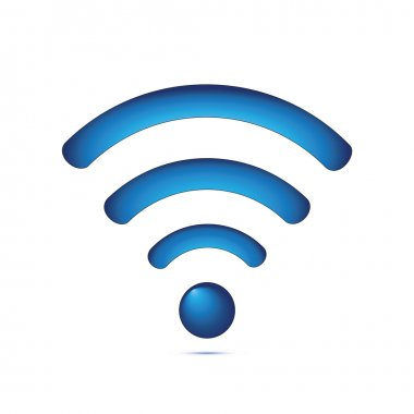 Blue wireless symbol (wifi)