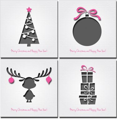 Set of christmas icons . Vector illustration.