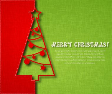 Christmas tree on textile background